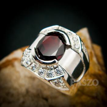 แหวนเงินสำหรับผู้ชาย แหวนพลอยโกเมน สีแดงก่ำ #8