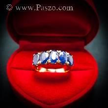 แหวนทอง แหวนพลอยไพลิน แหวนแถว พลอยสีน้ำเงิน 5เม็ด