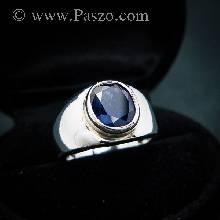 แหวนพลอยสีน้ำเงิน แหวนผู้ชายเงินแท้ พลอยสีน้ำเงิน แหวนผู้ชาย ไพลิน แหวนผู้ชายแบบเรียบๆ