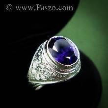 แหวนผู้ชายพลอยสีม่วง แหวนมอญ แกะลายไทย แหวนเงินแท้