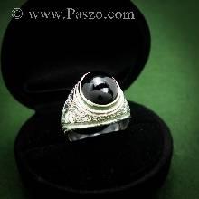 แหวนนิลผู้ชาย แหวนเงินผู้ชาย แหวนทรงมอญ แกะลายไทย ฝังพลอยนิล แหวนนิล แหวนเงินแท้ แหวนปิดท้องวง แหวนผู้ชาย