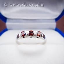 แหวนพลอยโกเมน พลอยสีแดงแก่ก่ำ เม็ดกลม พลอย3เม็ด แหวนเงินแท้