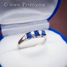 แหวนพลอยไพลิน พลอยสีน้ำเงิน เม็ดสี่เหลี่ยม พลอย3เม็ด แหวนเงินแท้