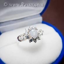 แหวนมูนสโตน ล้อมเพชร แหวนเงินแท้