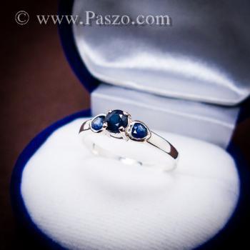 แหวนพลอยไพลิน พลอยสีน้ำเงิน ตัวเรือนเงินแท้ #2