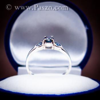 แหวนพลอยไพลิน พลอยสีน้ำเงิน ตัวเรือนเงินแท้ #3