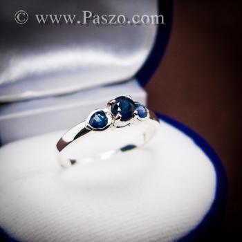 แหวนพลอยไพลิน พลอยสีน้ำเงิน ตัวเรือนเงินแท้ #4