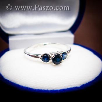 แหวนพลอยไพลิน พลอยสีน้ำเงิน ตัวเรือนเงินแท้ #5