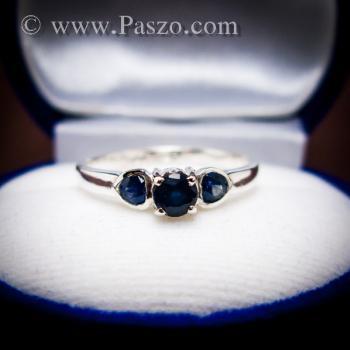 แหวนพลอยไพลิน พลอยสีน้ำเงิน ตัวเรือนเงินแท้ #6