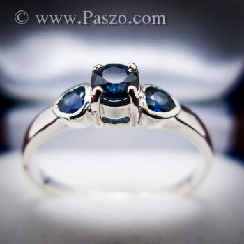 แหวนพลอยไพลิน พลอยสีน้ำเงิน ตัวเรือนเงินแท้ #7