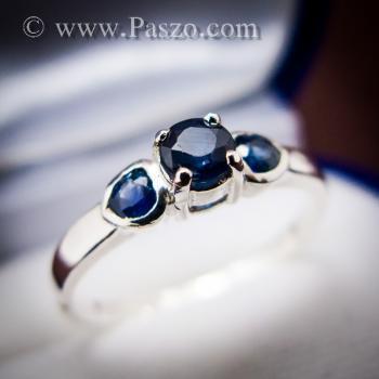 แหวนพลอยไพลิน พลอยสีน้ำเงิน ตัวเรือนเงินแท้ #8