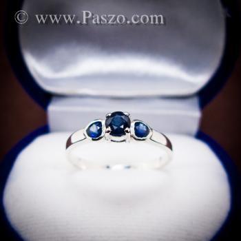 แหวนพลอยไพลิน พลอยสีน้ำเงิน ตัวเรือนเงินแท้ #9