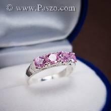 แหวนพลอยสีชมพู แหวนเงินแท้ ฝังเกี่ยวหนามเตยพลอยสีชมพู เม็ดกลม เรียง 4 เม็ด