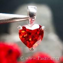 จี้รูปหัวใจ จี้พลอยโกเมน พลอยสีส้ม รูปหัวใจ เงินแท้