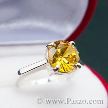 แหวนเงินแท้ ฝังพลอยบุษราคัม พลอยสีเหลือง #3