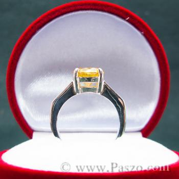 แหวนเงินแท้ ฝังพลอยบุษราคัม พลอยสีเหลือง #5