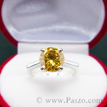 แหวนเงินแท้ ฝังพลอยบุษราคัม พลอยสีเหลือง #2