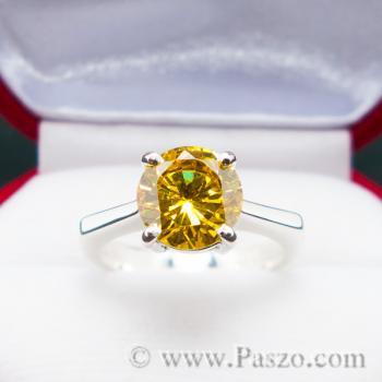 แหวนเงินแท้ ฝังพลอยบุษราคัม พลอยสีเหลือง #4