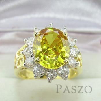 แหวนพลอยสีเหลือง พลอยบุษราคัม ล้อมเพชร #2