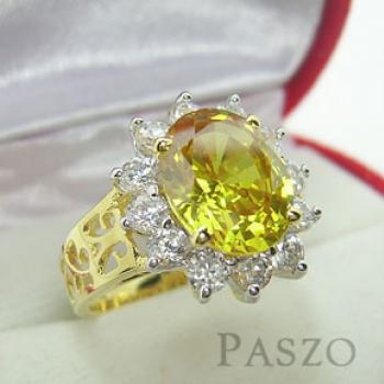 แหวนพลอยสีเหลือง พลอยบุษราคัม ล้อมเพชร #3
