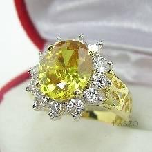 แหวนพลอยสีเหลือง พลอยบุษราคัม ล้อมเพชร แหวนทองชุบ