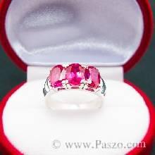 แหวนพลอยทับทิม  สีแดง แหวนเงินแท้ฝังพลอยทับทิม เรียง 3 เม็ด