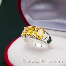 แหวนพลอยบุษราคัม สีเหลือง แหวนเงินแท้ ฝังพลอยบุษราคัม เรียง 3 เม็ด