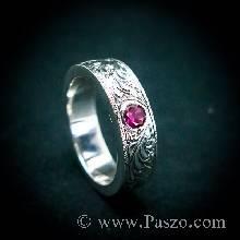 แหวนทับทิม แกะลายไทย รอบวง ฝังพลอยทับทิม แหวนพลอยทับทิม แหวนพลอยสีแดง แหวนเงินแท้