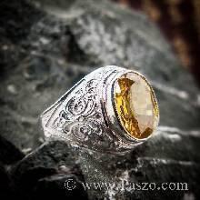แหวนบุษราคัม แหวนผู้ชายเงินแท้ แหวนทรงมอญ แกะลายไทย พลอยสีเหลือง แหวนเงินแท้ แหวนผู้ชาย