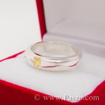 แหวนพลยสีเหลือง แหวนบุษราคัม แหวนลดระดับขอบ #2