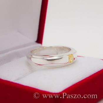 แหวนพลยสีเหลือง แหวนบุษราคัม แหวนลดระดับขอบ #3
