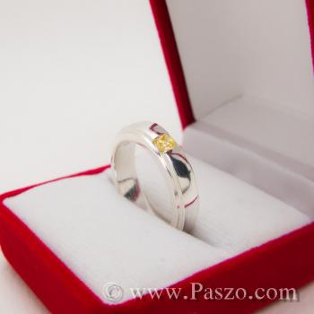 แหวนพลยสีเหลือง แหวนบุษราคัม แหวนลดระดับขอบ #5