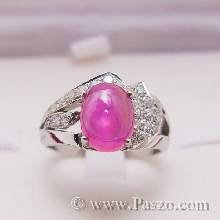 แหวนพลอยทับทิมแท้  ประดับด้านข้างตัวแหวนด้วยเพชรสวิสน้ำงาม ตัวแหวนเงินแท้