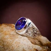 แหวนผู้ชาย แหวนพลอยอะเมทิสต์ พลอยสีม่วง แหวนเงิน สลักลายไทย