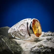 แหวนครุฑ แหวนเงินแกะลายพญาครุฑ ฝังพลอยบุษราคัม สีแม่โขง แหวนผู้ชาย ตัวแหวนเงินแท้