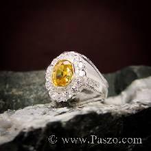 แหวนผู้ชาย แหวนพลอยบุษราคัม พลอยสีเหลือง ล้อมรอบด้วยเพชรสวิส น้ำงาม ตัวแหวนเงินแท้