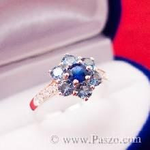 แหวนดอกไม้ แหวนพลอยไพลิน แหวนเงินแท้ พลอยสีน้ำเงิน ฝังเพชร