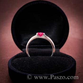 แหวนเงินแท้ ฝังพลอยทับทิม สีแดง #4