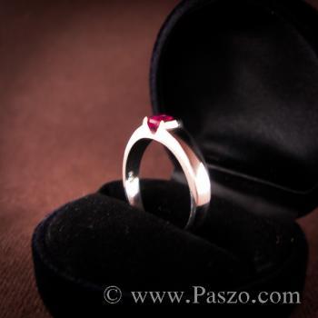 แหวนเงินแท้ ฝังพลอยทับทิม สีแดง #5