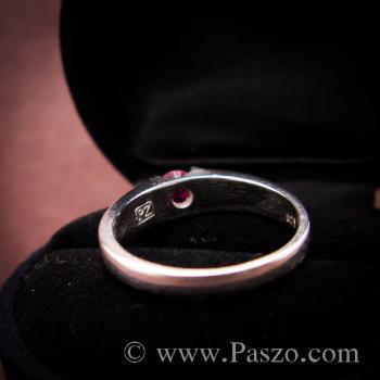 แหวนเงินแท้ ฝังพลอยทับทิม สีแดง #7
