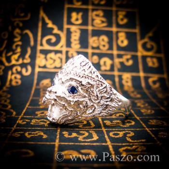 แหวนหนุมาน ฝังพลอยไพลิน พลอยสีน้ำเงิน #5