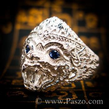 แหวนหนุมาน ฝังพลอยไพลิน พลอยสีน้ำเงิน #7