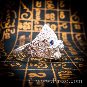 แหวนหนุมาน ฝังพลอยไพลิน พลอยสีน้ำเงิน #3