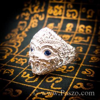 แหวนหนุมาน ฝังพลอยไพลิน พลอยสีน้ำเงิน #6