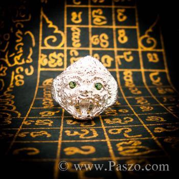 แหวนหนุมาน ฝังมรกต พลอยสีเขียว #2