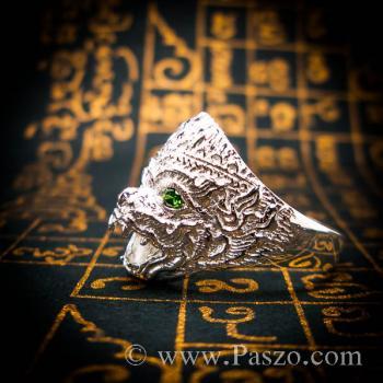 แหวนหนุมาน ฝังมรกต พลอยสีเขียว #3