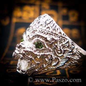 แหวนหนุมาน ฝังมรกต พลอยสีเขียว #5
