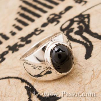 แหวนนิล เจียรหลังเต่า แหวนเงินแท้ #2