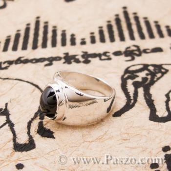 แหวนนิล เจียรหลังเต่า แหวนเงินแท้ #3