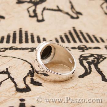 แหวนนิล เจียรหลังเต่า แหวนเงินแท้ #4